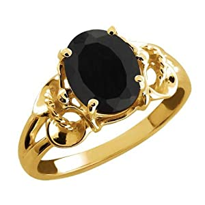 2.60 Ct Oval Black Onyx Yellow Gold Plated Sterling Silver Ring