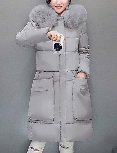 Xi&SOSO Standard Piumino Da donna,Cappotto Semplice Casual Tinta unita Poliestere Polipropilene Manica lunga Con cappuccioRosa / Rosso / Nero / , l