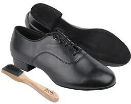 Very Fine Men\'s Salsa Ballroom Tango Latin Dance Shoes Style C2503 Bundle with Dance Shoe Wire Brush, Black Leather 11 M US Heel 1 Inch