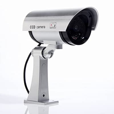 Masione Simulated Surveillance Cameras - New Wireless IP Camera Security Surveillance fake Dummy IR LED cameras - Night/Day Vision Look Bullet CCD CCTV Imitation Dummy Camera - Weatherproof bullet housing, multiple Flashing Blinking Red infrared LEDs, Ind