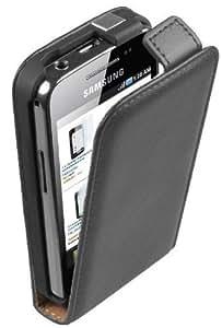 Ultra Slim Schwarz Leder Tasche Hülle Samsung Galaxy Ace (GT-S5830i / S5839i) - Flip Case Cover + 2 Displayschutzfolie