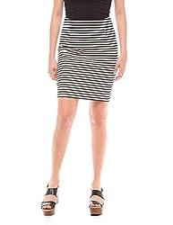 Shuffle Women's Skinny Skirt (1021518301_Black And White Stripe_X-Small)