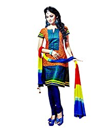 Charu Boutique Women's Printed Cotton Dress Material(Multi Color_Free Size)