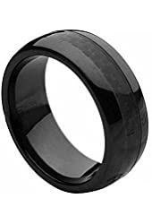 Ceramic Ring with Black Carbon Fiber Inlay 8mm