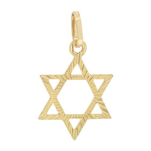 14k Yellow Gold, Star of David Jewish Star Pendant Charm 15mm Wide