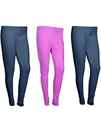 Indistar Women Cotton Legging Comfortable Stylish Churidar Full Length Women Leggings-Navy Blue/Pink-Free Size-Pack...
