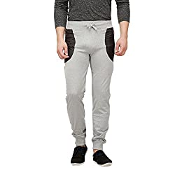 Campus Sutra Men Zip Pocket Joggers(SS16BOT_TPLDRS2ZIP_M_PLN_GRBL_XL)