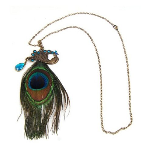 SODIAL- Fashion Bronze Peacock Feather Long Chain Retro Necklace