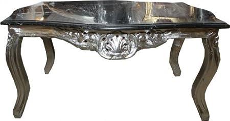 Casa Padrino Barock Couchtisch Silber mit schwarzer Marmorplatte 100 x 70 cm