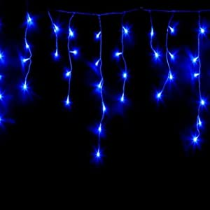Amazon.com - GE 300 Blue High Density Icicle Lights Christmas Light Set With White Wire - String ...