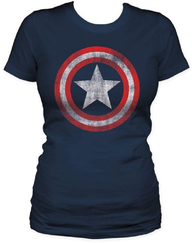 Captain America - Shield Womens S/S T-Shirt in Navy