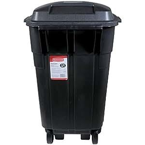 Rubbermaid Roughneck Heavy Duty Wheeled Trash Can 34 Gallon Black Home Kitchen