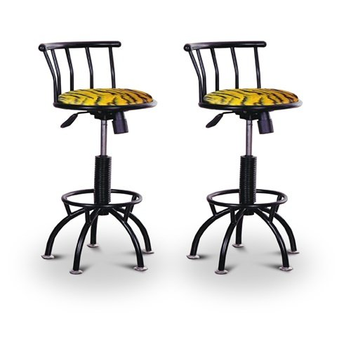 "2 24""-29"" Tiger Animal Print Seat Black Adjustable Specialty / Custom Barstools Set"