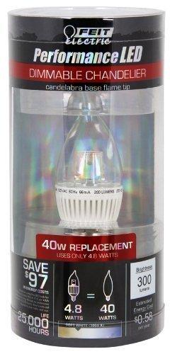 Feit Electric Cfc/Dm/300/Led 4.8-Watt Candelabra - 40 Watt Replacement - 300 Lumen