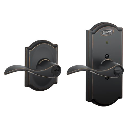 Schlage Fe51 Acc 716 Cam Built-In Alarm, Camelot Collection Accent Keyed Entry Lever Door Lock, Aged Bronze