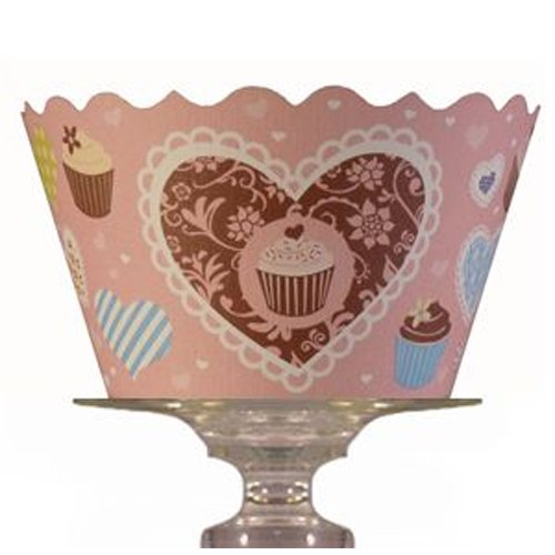 Bella Cupcake Couture Hailey Pink And Blue Heart And Cupcake Wrapper, Set Of 12 front-280205