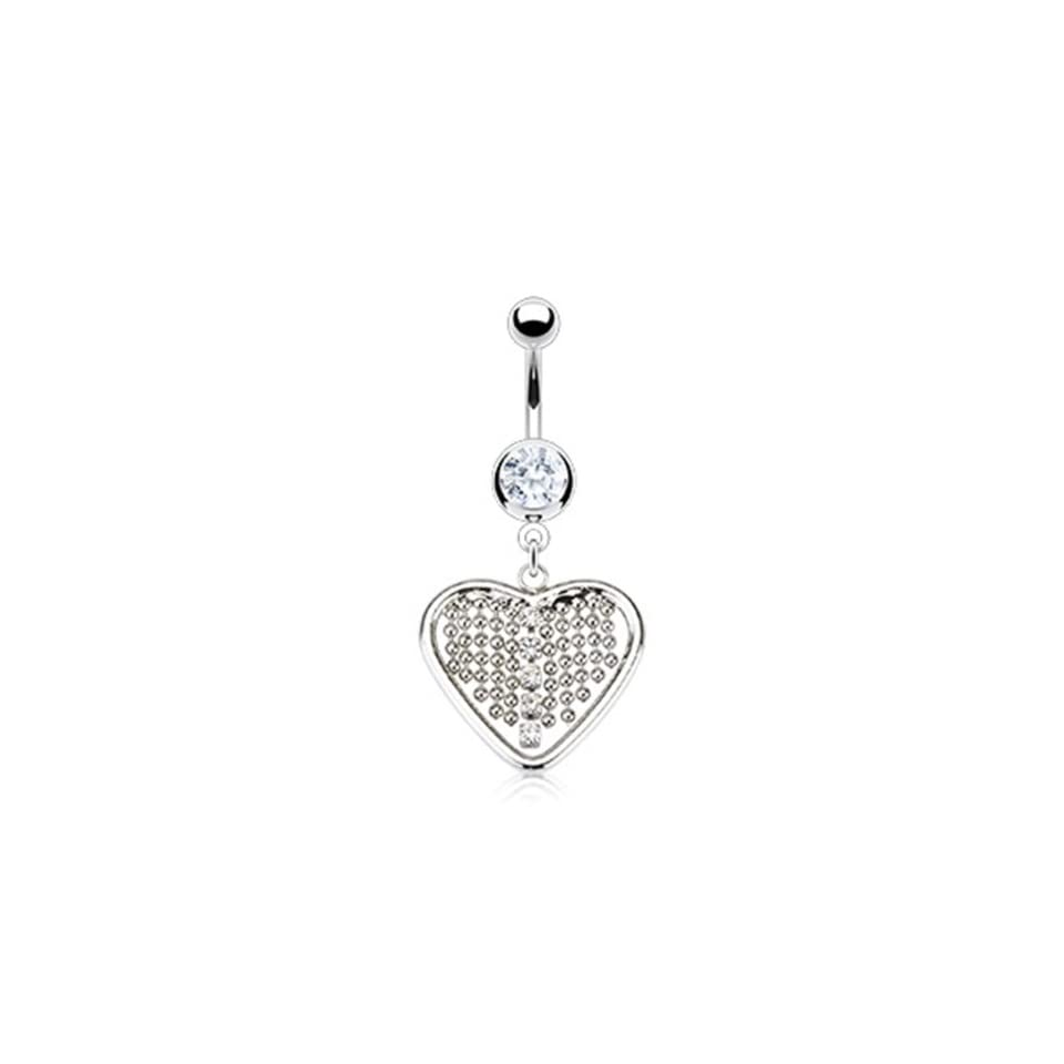 14g Surgical Steel Heart Sexy Belly Button Navel Ring Dangle Body Jewelry Piercing with Dangling Beads and Clear Gems 14 Gauge 3/8 Nemesis Body JewelryTM