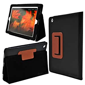 Ionic 2-Tone Designer Tablet Stand Leather Case For Apple iPad 2, iPad 3, iPad 4, iPad 2nd, iPad 3rd, iPad 4th Generation Tablet AT&T Verizon 4G LTE (Black-Brown)
