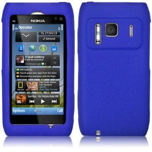 Nokia N8 Soft Silicone Rubber Case Skin Cover And Screen Protector / Blue Design
