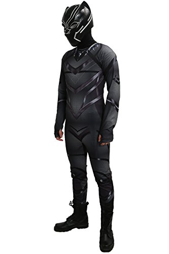 [XCOSER Black Panther Costume Zentai for Halloween S] (Black Panther Civil War Costume)