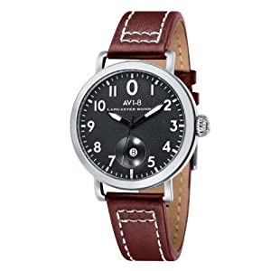 Avi-8 Hawker Hurricane Men's Quartz Watch with Black Dial Analogue Display and Brown Leather Strap AV-4020-01