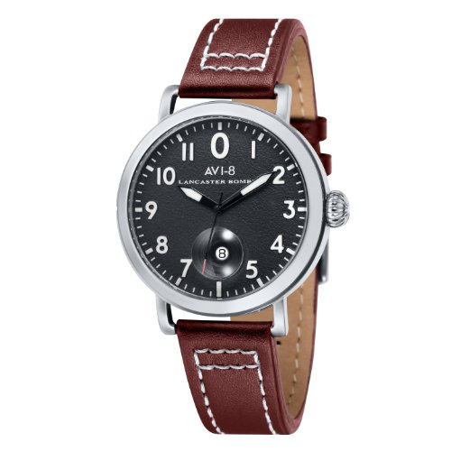 avi-8-mens-hawker-hurricane-quartz-watch-with-black-dial-analogue-display-and-brown-leather-strap-av