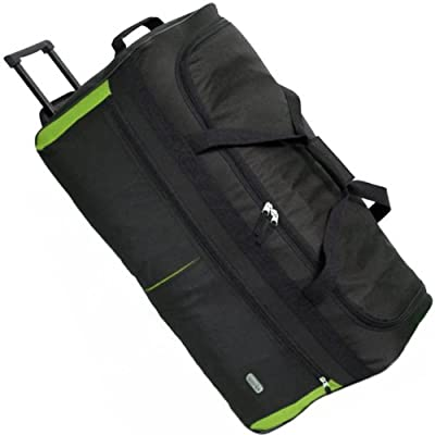 Karabar Extra Large 34 Inch Wheeled Holdall - 3 Years Warranty! (Black/Lime & Matching Flight Bag)