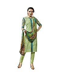 The Ethnic Chic Pista Colored Cotton Jacquard Suit For Women's Party Wear
