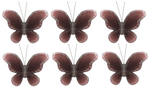 "Butterfly Decor 2"" Brown Mini (X-Small) Glitter Butterflies 6Pc Set. Decorate For A Baby Nursery Bedroom, Girls Room Ceiling Wall Decor, Wedding Birthday Party, Bridal Baby Shower, Bathroom. Decoration For Crafts, Scrapbooks, Invitations, Parties front-3470"