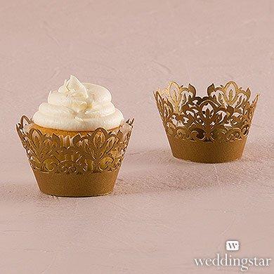 Classic-Damask-Filigree-Paper-Cupcake-Wrappers-Vintage-Gold-Shimmer