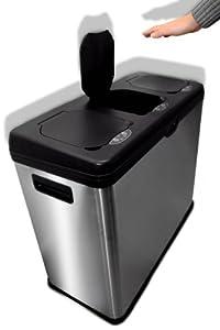 60 liter abfalleimer mit 3 sensoren edelstahl automatik m lleimer abfalltrenner. Black Bedroom Furniture Sets. Home Design Ideas