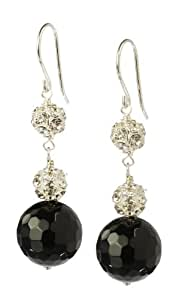 Black Onyx and Rhinestone Fireballs Sterling Silver Drop Earrings