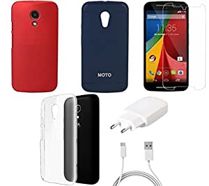 NIROSHA Tempered Glass Screen Guard Cover Case Charger for Motorola G2 2nd Gen - Combo