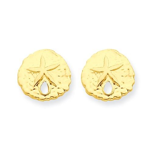 MadiK - 14k Yellow Gold Polished Sand Dollar Post Stud Earrings