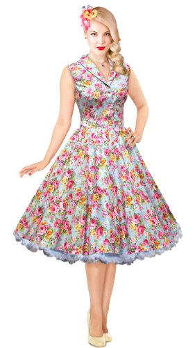 1950′s 50s Blue floral Tea Swing Dress Vintage Rockabilly Pin