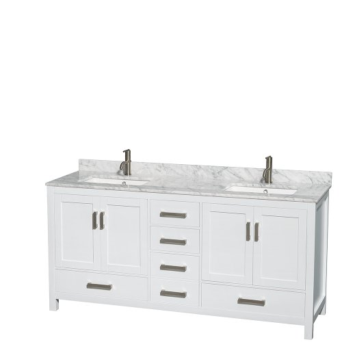 Wyndham-Collection-Sheffield-72-inch-Double-Bathroom-Vanity-in-White-White-Carrera-Marble-Countertop-Undermount-Square-Sinks-and-No-Mirror