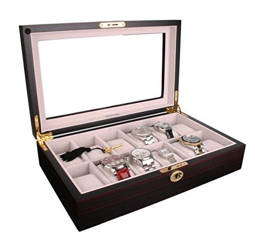 axis bo te de rangement en bois 12 montre en velours ivoire. Black Bedroom Furniture Sets. Home Design Ideas