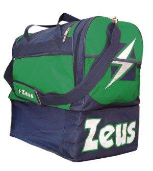 Zeus Borsa Gamma Borsone Uomo Calcio Palestra Piscina Tracolla Sport 52 x 52 x 36 cm Blu-Verde