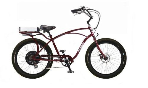 Pedego Burgundy Comfort Cruiser ClassicElectric Bike with Black Rims and Black Balloon Tires
