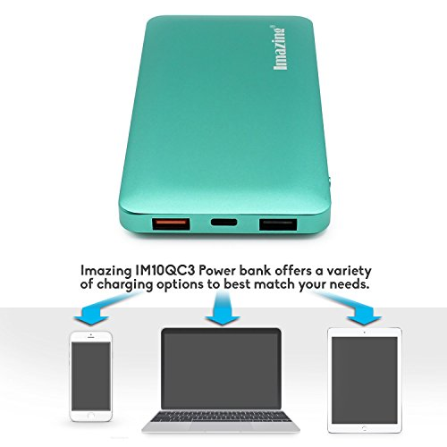 Imazing 10000mah Qualcomm Quick Charge 3 0 Type C 5V/3A input & output  Power Bank Portable Charger External Battery Pack 3A + 3 0 5V 9V 12V