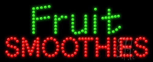 """Fruit Smoothies Animated Outdoor Led Sign 11"""" Tall X 27"""" Wide X 3.5"""" Deep front-593295"""