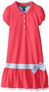 Nautica Girls 7-16 Pique Dress with Mini Stripe Waist Sash and Eyelet Hem from Nautica