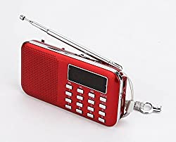 i-Auto Time Ultral-thin Mini Digital Portable MP3 Music Player with Micro SD/TF USB Disk Radio Speaker. (218 Red)