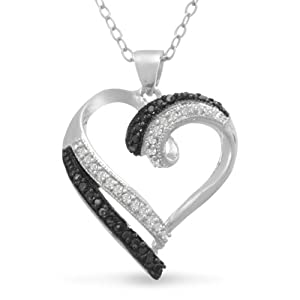 Contemporary 1/4 Carat Black and White Diamond Heart Necklace, 18 Inches