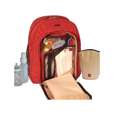 Okkatots Backpack Diaper Bag In Red front-47506