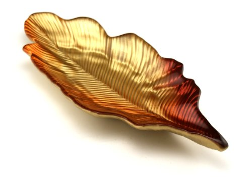 Arda Willow Leaf 4-1/2-Inch By 11-Inch Leaf Tray, Metallic Golden/Orange/Red, Set Of 2