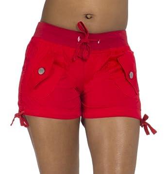 (25252R) Classic Designs Stretch Poplin Elastic Waist w/ Woven Belt in Red Size: S