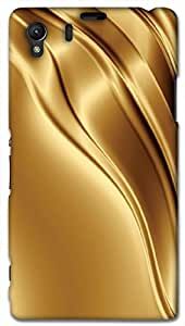 Timpax Protective Hard Back Case Cover Printed Design : Waves of gold.For Sony L39-H ( Sony 39 )