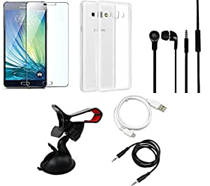 NIROSHA Tempered Glass Screen Guard Cover Case Headphone USB Cable Mobile Holder for Samsung Galaxy ON7 - Combo