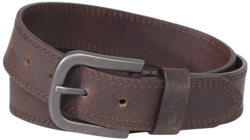 Dickies Mens 38mm Leather Belt With Two Row Stitch, Brown, 44